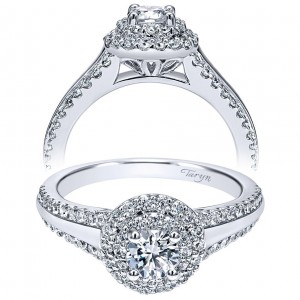 Taryn 14k White Gold Round Double Halo Engagement Ring TE911711R0W44JJ
