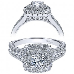 Taryn 14k White Gold Round Double Halo Engagement Ring TE911714R0W44JJ