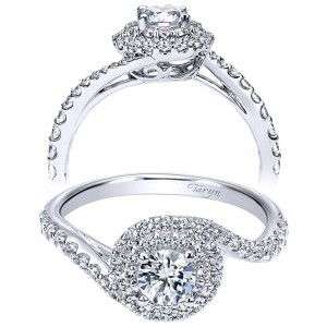 Taryn 14k White Gold Round Double Halo Engagement Ring TE911728R0W44JJ