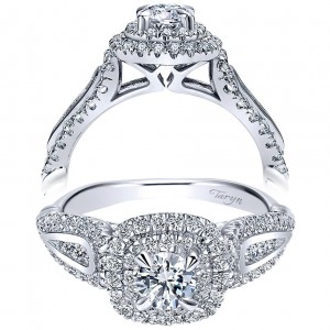 Taryn 14k White Gold Round Double Halo Engagement Ring TE911789R0W44JJ