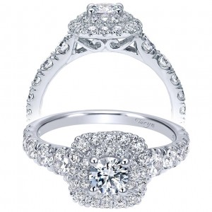 Taryn 14k White Gold Round Double Halo Engagement Ring TE911898R0W44JJ