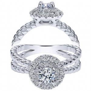 Taryn 14k White Gold Round Double Halo Engagement Ring TE911971R0W44JJ