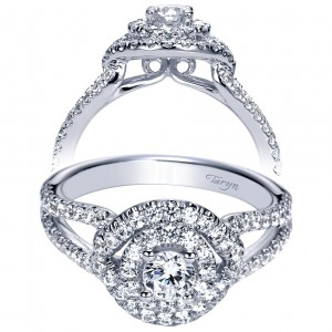 Taryn 14k White Gold Round Double Halo Engagement Ring TE98554W44JJ
