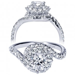 Taryn 14k White Gold Round Double Halo Engagement Ring TE98664W44JJ