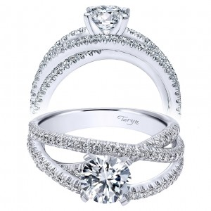 Taryn 14k White Gold Round Free Form Engagement Ring TE10204W44JJ
