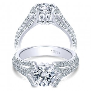 Taryn 14k White Gold Round Free Form Engagement Ring TE10789W44JJ