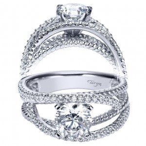 Taryn 14k White Gold Round Free Form Engagement Ring TE5363W44JJ
