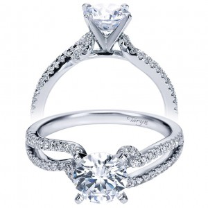 Taryn 14k White Gold Round Free Form Engagement Ring TE6956W44JJ