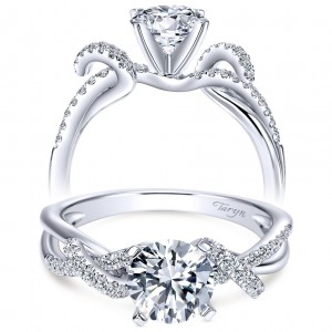 Taryn 14k White Gold Round Free Form Engagement Ring TE7756W44JJ