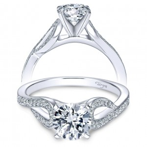 Taryn 14k White Gold Round Free Form Engagement Ring TE7802W44JJ
