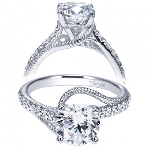 Taryn 14k White Gold Round Free Form Engagement Ring TE9043W44JJ