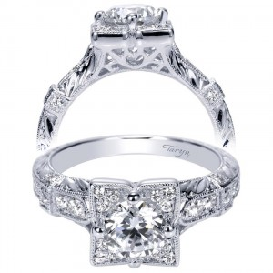 Taryn 14k White Gold Round Halo Engagement Ring TE9061W44JJ
