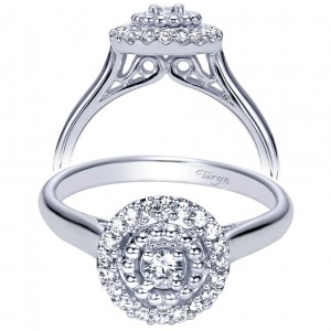 Taryn 14k White Gold Round Halo Engagement Ring TE98428W44JJ