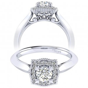 Taryn 14k White Gold Round Perfect Match Engagement Ring TE001A2AAW44JJ