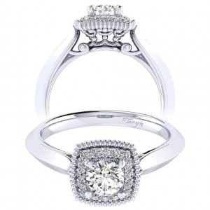 Taryn 14k White Gold Round Perfect Match Engagement Ring TE001A2ABW44JJ