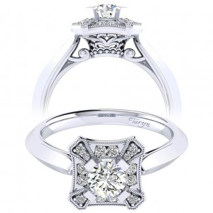 Taryn 14k White Gold Round Perfect Match Engagement Ring TE001A2AEW44JJ