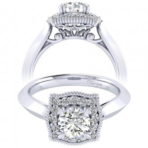 Taryn 14k White Gold Round Perfect Match Engagement Ring TE001B3AAW44JJ