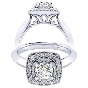 Taryn 14k White Gold Round Perfect Match Engagement Ring TE001B3AFW44JJ