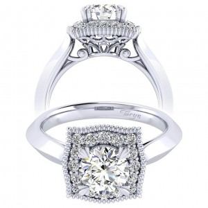 Taryn 14k White Gold Round Perfect Match Engagement Ring TE001B4AAW44JJ