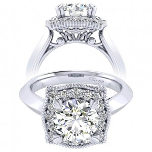 Taryn 14k White Gold Round Perfect Match Engagement Ring TE001C8AAW44JJ