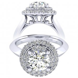 Taryn 14k White Gold Round Perfect Match Engagement Ring TE001C8AIW44JJ