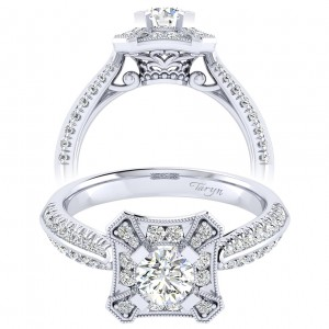Taryn 14k White Gold Round Perfect Match Engagement Ring TE002A2AEW44JJ