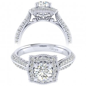 Taryn 14k White Gold Round Perfect Match Engagement Ring TE002B3AAW44JJ