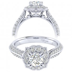 Taryn 14k White Gold Round Perfect Match Engagement Ring TE002B3ACW44JJ