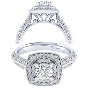 Taryn 14k White Gold Round Perfect Match Engagement Ring TE002B3AFW44JJ