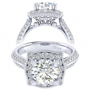 Taryn 14k White Gold Round Perfect Match Engagement Ring TE002C8AAW44JJ