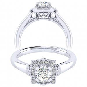 Taryn 14k White Gold Round Perfect Match Engagement Ring TE009A2ADW44JJ