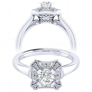 Taryn 14k White Gold Round Perfect Match Engagement Ring TE009A2AEW44JJ