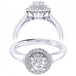 Taryn 14k White Gold Round Perfect Match Engagement Ring TE009A2AIW44JJ