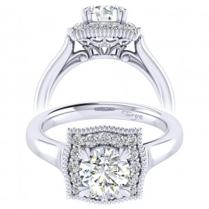 Taryn 14k White Gold Round Perfect Match Engagement Ring TE009B4AAW44JJ