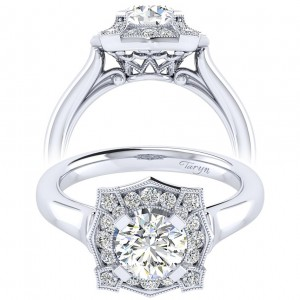 Taryn 14k White Gold Round Perfect Match Engagement Ring TE009B4ADW44JJ