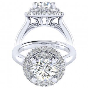Taryn 14k White Gold Round Perfect Match Engagement Ring TE009C8AIW44JJ