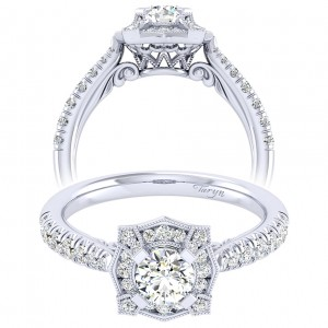 Taryn 14k White Gold Round Perfect Match Engagement Ring TE039A2ADW44JJ