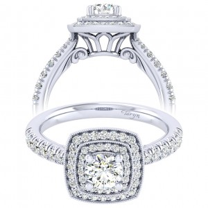 Taryn 14k White Gold Round Perfect Match Engagement Ring TE039A2AGW44JJ
