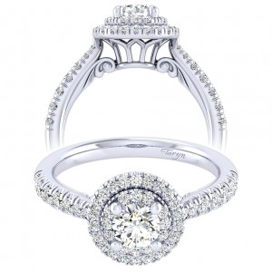Taryn 14k White Gold Round Perfect Match Engagement Ring TE039A2AIW44JJ