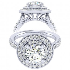 Taryn 14k White Gold Round Perfect Match Engagement Ring TE039C8AHW44JJ
