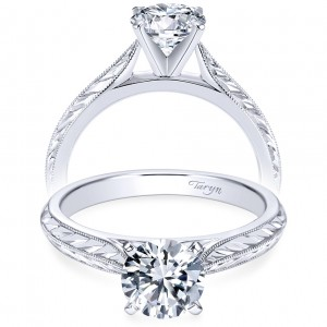 Taryn 14k White Gold Round Solitaire Engagement Ring TE6707W4JJJ