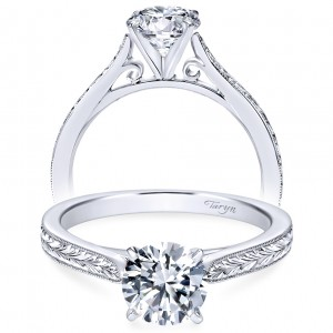 Taryn 14k White Gold Round Solitaire Engagement Ring TE7223W4JJJ