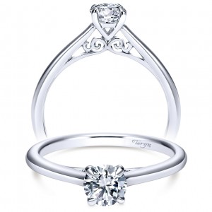 Taryn 14k White Gold Round Solitaire Engagement Ring TE8686W4JJJ