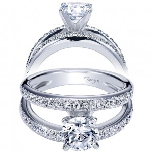Taryn 14k White Gold Round Split Shank Engagement Ring TE4229W44JJ