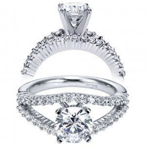 Taryn 14k White Gold Round Split Shank Engagement Ring TE6079W44JJ