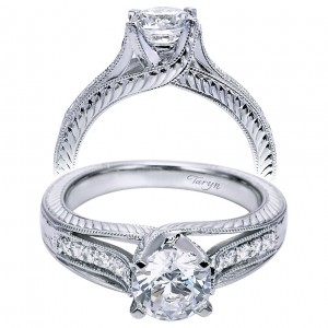 Taryn 14k White Gold Round Split Shank Engagement Ring TE6269W44JJ