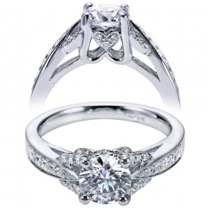 Taryn 14k White Gold Round Split Shank Engagement Ring TE6358W44JJ