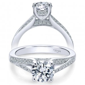 Taryn 14k White Gold Round Split Shank Engagement Ring TE6389W44JJ