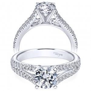 Taryn 14k White Gold Round Split Shank Engagement Ring TE6666W44JJ