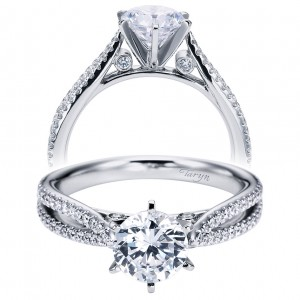Taryn 14k White Gold Round Split Shank Engagement Ring TE6669W44JJ